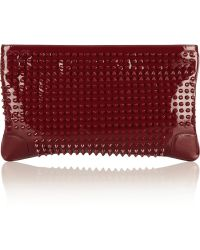 Christian Louboutin Loubi posh Spiked Patent leather Clutch - Lyst