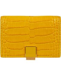 Smythson Yellow Mara Leather Card Case with Slide - Lyst