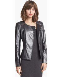 Trouvé Trouvé Stitch Detail Leather Jacket - Lyst