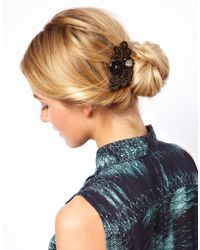 ASOS Limited Edition Paisley Stone Hair Brooch - Black