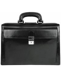 FORZIERI - Black Italian Leather Buckled Compact Doctor Bag - Lyst