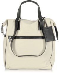 Giorgio Fedon | Metro Cream Leather Vertical Tote Bag | Lyst