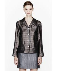 Marc Jacobs Bronze Silk Pied De Poule Pajama Shirt - Brown