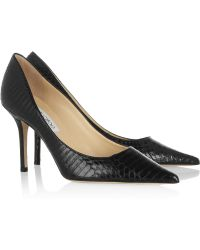 Jimmy Choo - Agnes Glossed-Elaphe Court Shoes - Lyst