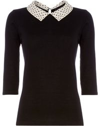 Therapy Spot Woven Collar Jumper - Lyst