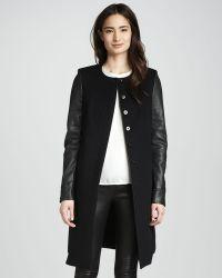 J Brand - Emilie Leathersleeve Wool Coat - Lyst