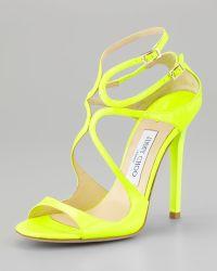 Jimmy Choo Lang Patent Strappy Sandal Yellow - Lyst