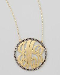 Kacey K - Cutout-Monogram Large Pave Black Diamond Necklace - Lyst