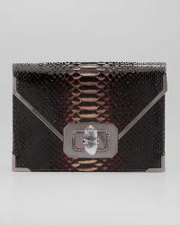 Marchesa Valentina Large Python Envelope Clutch Bag - Lyst