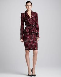 Oscar de la Renta Tweed Pencil Skirt Ruby - Lyst