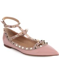 Valentino Rock-stud Leather Ballet Flats - Lyst