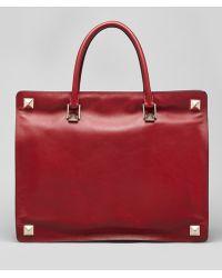 Valentino Rock-stud-corner Leather Tote Bag Scarlet - Lyst