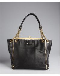 Abaco - Black and Tan Color Block Leather Louise Chain Handle Tote - Lyst