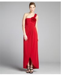 BCBGMAXAZRIA Rio Red Stretch Jersey 'Elysa' Pleated One-Shoulder Gown - Lyst