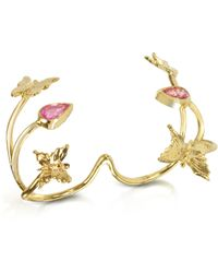 Bernard Delettrez - Butterfly And Pink Sapphires Gold 2 Fingers Ring - Lyst