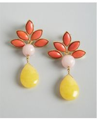 David Aubrey - Yellow Coral and Pink Multi Stone Drop Earrings - Lyst