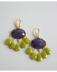David Aubrey - Purple and Green Ornate Jade Chandelier Earrings - Lyst