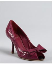 Dior Carmine Red Cannage Patent Leather Bow Detail Platform Pumps - Lyst