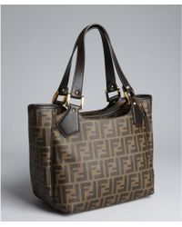 Fendi Brown and Tobacco Zucca Coated Canvas Chef Tote - Lyst