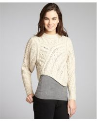Isabel Marant Ecru Cable Knit Wool Asymmetrical Cropped Sweater - Lyst