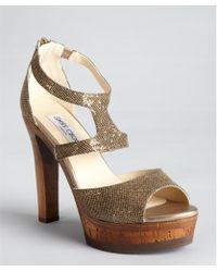 Jimmy Choo Gold Glitter Leather Curve Platform Sandals - Lyst