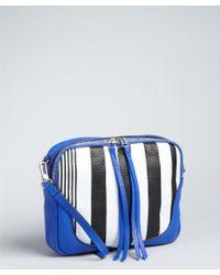 Kelsi Dagger Brooklyn - Cobalt and Black Striped Textured Leather Myla Shoulder Bag - Lyst