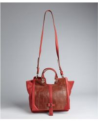 Kelsi Dagger Red Leather and Croc Embossed Mara Convertible Top Handle Bag - Lyst