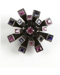 Lanvin Gunmetal And Purple Metal And Crystal 'Medals' Brooch - Lyst