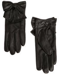 Mango Bowknot Leather Gloves - Lyst