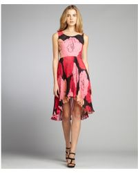 Max & Cleo - Black and Pink Rose Print Chiffon Accordion Pleated Dress - Lyst