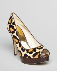 MICHAEL Michael Kors Peep Toe Platform Pumps York High Heel Leopard Calf Hair - Lyst