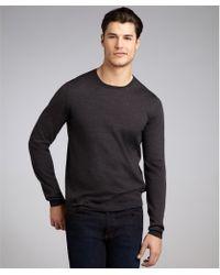 Prada Anthracite Wool Long Sleeve Crewneck Sweater - Lyst