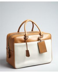 Prada Caramel And Ivory Leather Large Zip Travel Bag - Lyst