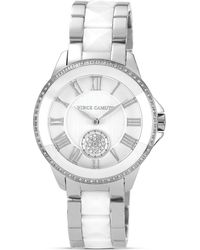 Vince Camuto Two Tone White Ceramic and Silver Tone Watch 38mm
