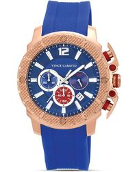 Vince Camuto - Mens Blue and Rose Gold Tone Silicone Watch 455mm - Lyst