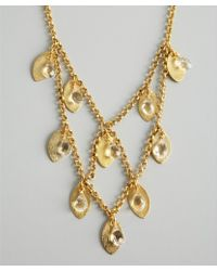 Wendy Mink - Gold and Crystal Tiered Leaf Charm Necklace - Lyst
