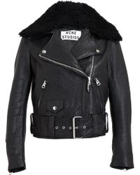 Acne Studios Mape Paw Leather and Shearling Jacket - Lyst