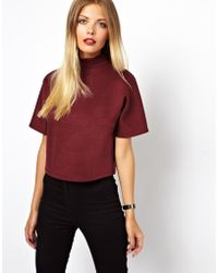 Asos Crop Top with High Neck and Wide Sleeve - Lyst