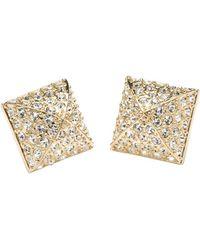 CC Skye Pyramid Pave Stud Earrings - Lyst