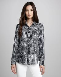 Theory Cully Printed Buttondown Blouse - Lyst