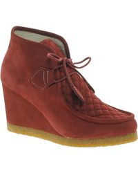F-Troupe Burgundy Wedge Boot - Red