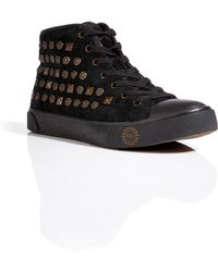 Ugg Leather Cayha Studded Sneakers in Black - Lyst