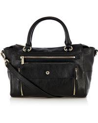 Karen Millen Pocket Front Leather Bag - Black