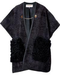 Emilio Pucci Lambskin Leather/Lamb Fur Cape In Nero - Lyst
