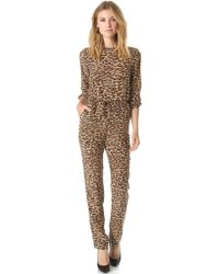 One By Leopard Jumpsuit - Green