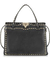Valentino Rockstud Black Leather Tote - Lyst