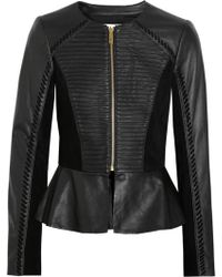 Alice By Temperley - Giovanni Suedepaneled Leather Peplum Jacket - Lyst