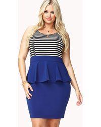 Forever 21 Striped Peplum Combo Dress - Lyst