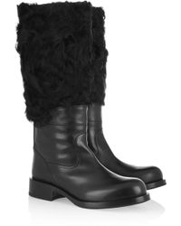 Jil Sander Leather And Shearling Knee Boots - Black