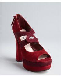 Miu Miu Bordeaux Suede Platform Sandals - Lyst